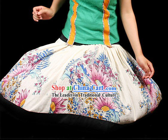 Handmade Unique Design Flower World Short Skirt