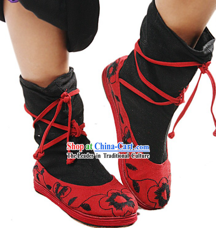 Handmade and Embroidered Lucky Red Long Cloth Boots