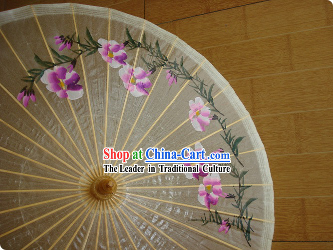 Chinese Classic Transparent Hand Painted Umbrella - Morning Glory