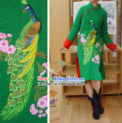 Supreme Chinese Green Hands Painted Peacock Winter Cotton Cheongsam