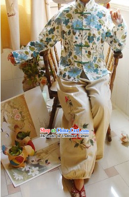 Chinese Classic Mandarin Collar Flower Field Cotton Blouse