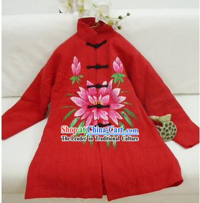 Chinese Classic Mandarin Red Lotus Winter Outercoat for Women