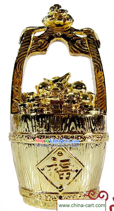 Kai Guang Golding Feng Shui Pail of Gold (gathering treasures and success)