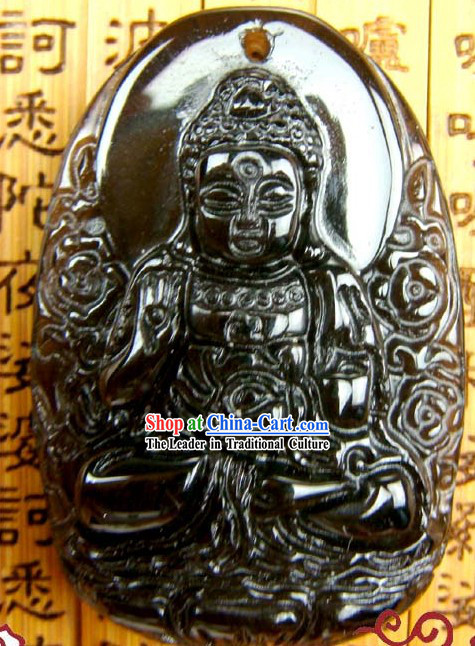 Kai Guang Obsidian Amitabha Pendant _angel of Chinese birth year dog and pig_