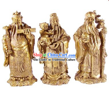 Chinese Traditional Feng Shui God of Luck Health Wealth _3 Statues Set_