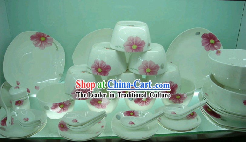Chinese Classic Jing De Zhen Ceramic 56 Pieces Tableware Set