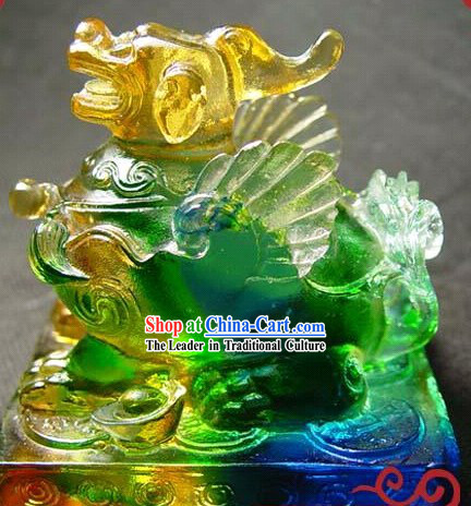 Chinese Classic Colored Glaze Pi Xiu Statue _good luck and safe_