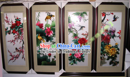 Supreme Chinese Hands Embroidery Handicraft Collectible - Four Seasons (four pieces set)