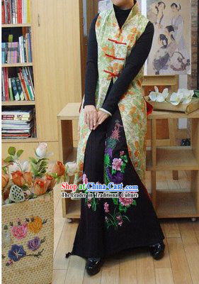 Chinese Classic Handmade Long Cotton Flowery Overcoat