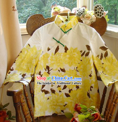 Chinese Classic Mandarin Collar Drunk Chrysanthemum Cotton Blouse
