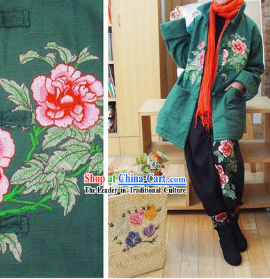 Chinese Classic Handmade Long Cotton Peony Warm Winter Overcoat