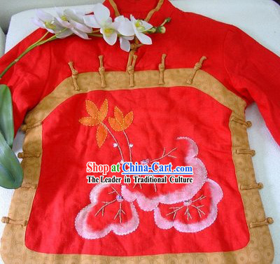 Supreme Chinese Happy New Year Hands Embroidered Mandarin Button Warm Jacket