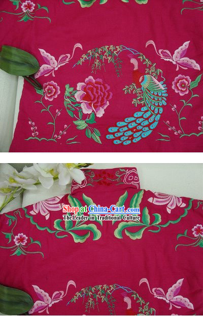 Supreme Chinese Traditional Hands Embroidered Phoenix Warm Cotton Jacket _pink_