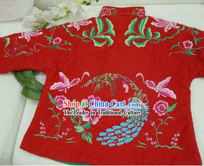 Supreme Chinese Traditional Hands Embroidered Phoenix Warm Cotton Jacket _red_