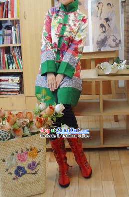 Supreme Chinese Traditional Long Ancient Time Cotton Outercoat for Women