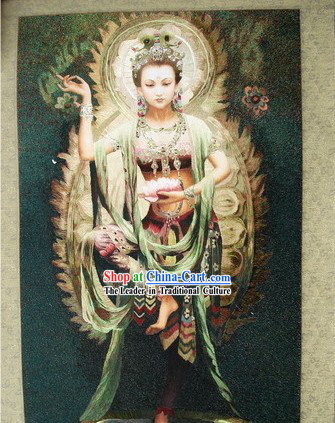 Supreme Chinese All Hand Embroidery Handicraft - Dancing Kwan-yin