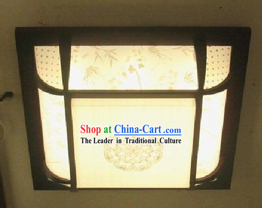 Chinese Classical Wood and Parchment Ceiling Lantern