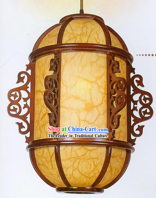 21 Inches Chinese Traditional Hand Made Carved Wooden Ceiling Lantern