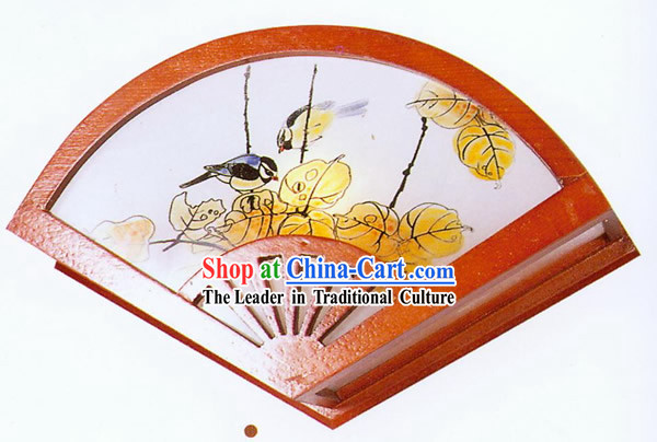 Chinese Hand Made Fan Shape Wooden Wall Lantern - Traditional Painting