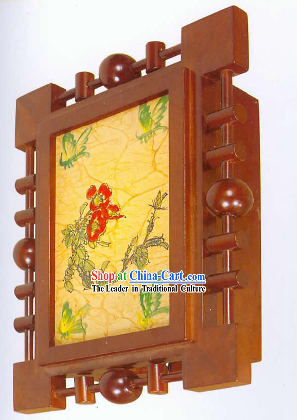 Chinese Hand Made Wooden Traditional Painting Wall Lantern - Red Flower