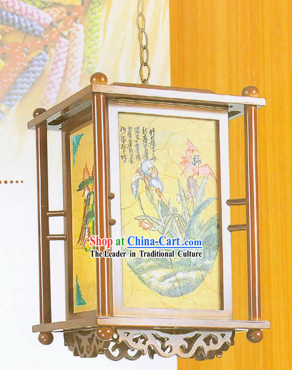 Chinese Classical Hand Made Wooden Hanging Lantern - Traditional Paint