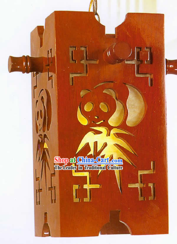 Chinese Classical Hand Made Wooden Hanging Lantern with Hand Carved Panada