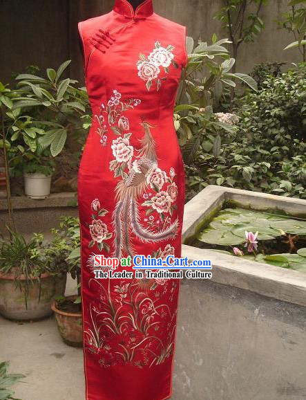 Chinese All Hand Embroidery Phoenix Long Silk Cheongsam _Qipao_