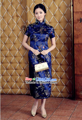 Chinese Classical Blue Phoenix and Dragon Pattern Cheongsam (Qipao)