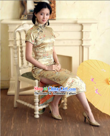 Chinese Classical Beige Phoenix and Dragon Pattern Cheongsam _Qipao_