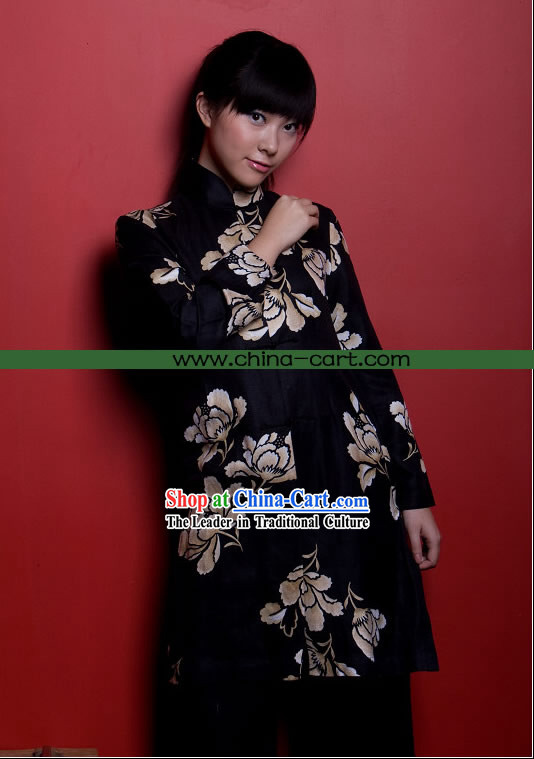 Chinese Cool Mandarin Chrysanthemum Pattern Black Flax Blouse