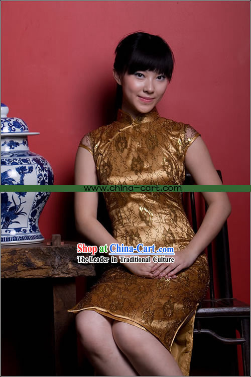 Chinese Stunning Gold Floral Cheongsam