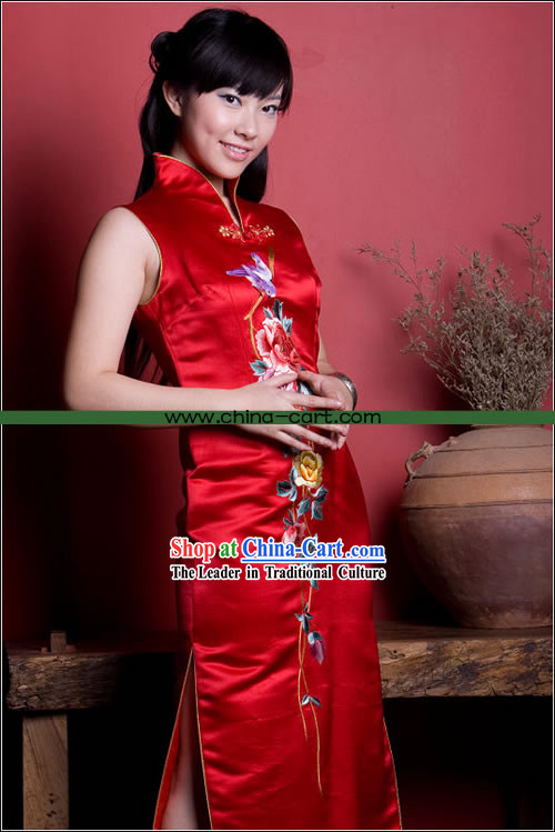 Stunning Mandarin Lucky Red Hand Embroidered Long Cheong-sam (Qipao)