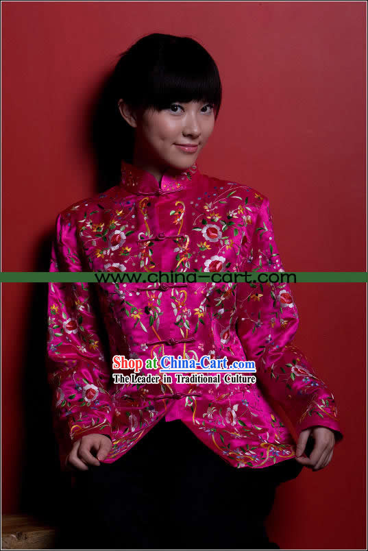 Traditional Chinese Stunning Hand Embroidered Pink Flower Coat _Tang Suit_