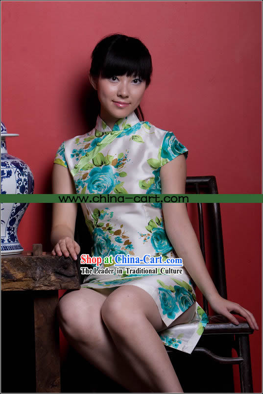 Chinese Noble Blue Rose Cheongsam (Qipao)