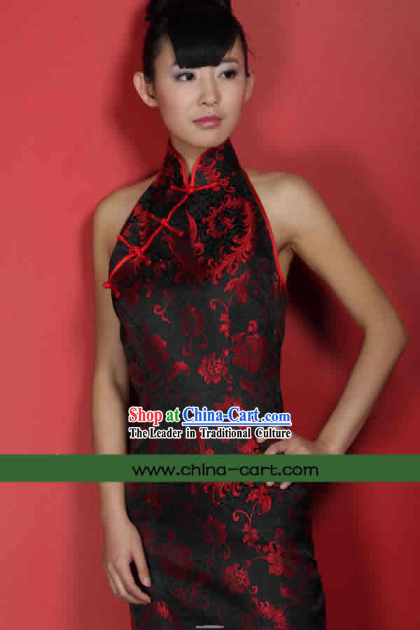 Classical Black Phoenix Tail Silk Cheongsam