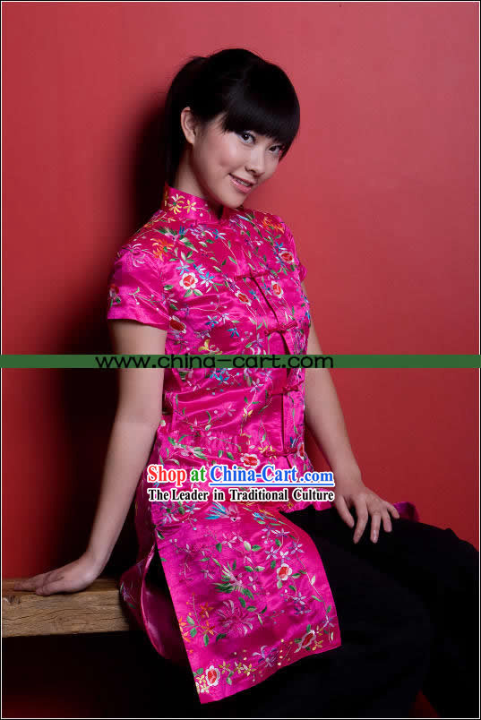 Traditional Chinese Stunning Hand Embroidered Flower Garment (pink)