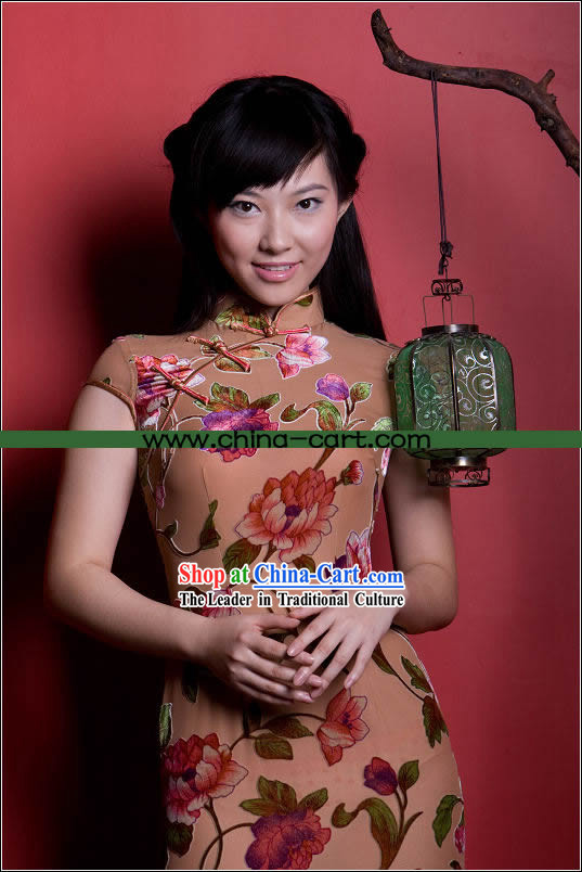 Stunning All Hand Made Yu Lan Flower Long Velour Cheongsam (Qipao)
