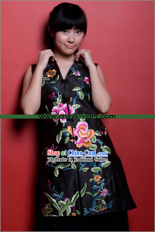 Stunning All Hand Embroidery Large Flower Black Silk Cheongsam (Qipao)