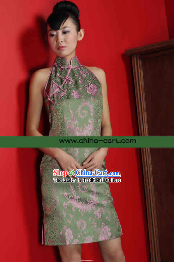 Classical Green Phoenix Tail Silk Cheongsam