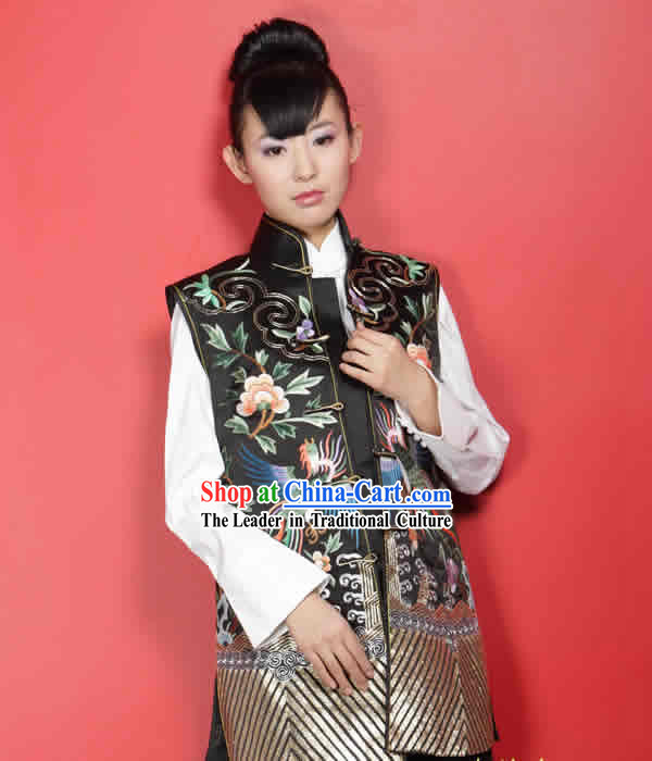 Stunning Supreme Chinese Mandarin All Hand Embroidery Phoenix Silk Cheongsam _black_
