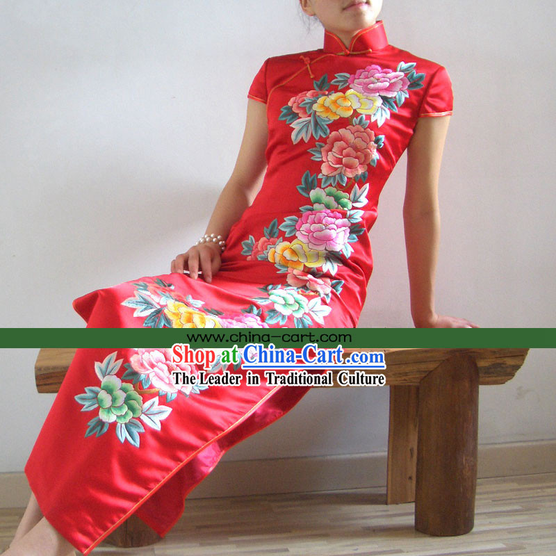 Stunning Chinese Supreme All Hand Embroidery Flower Red Silk Cheongsam _red_