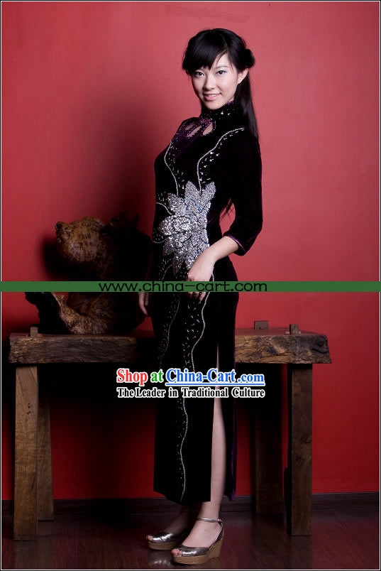 Noble Chinese Stunning Velour Long Cheongsam
