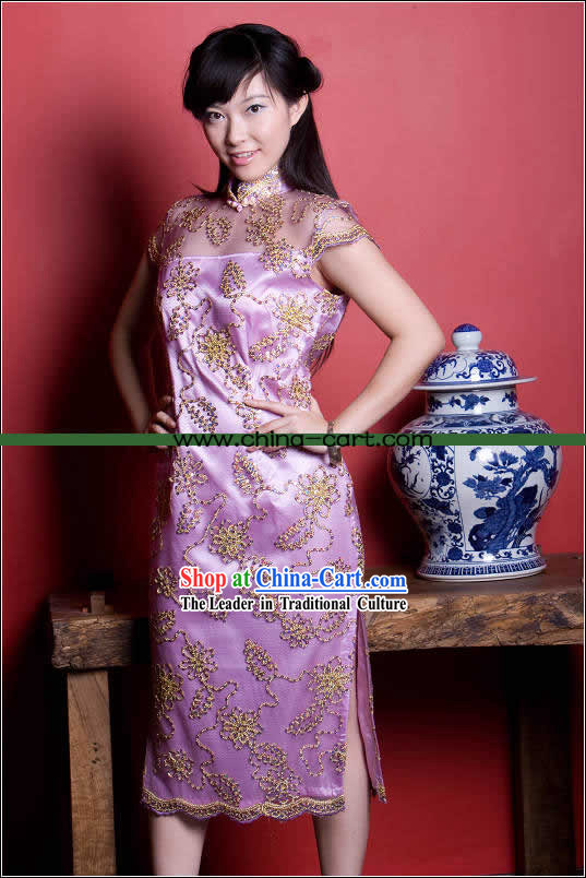 Supreme Chinese Stunning Purple Gold Flower Long Cheongsam (Qipao)