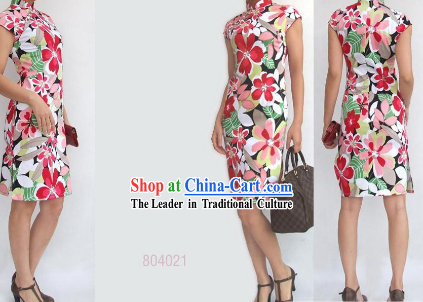 Chinese Mandarin Colorful Flower Cotton Cheongsam (Qipao)