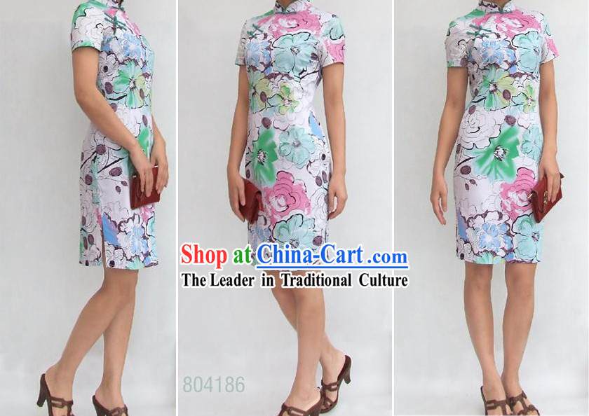 Chinese Stunning Three Colors Flower Cotton Cheongsam _Qipao_