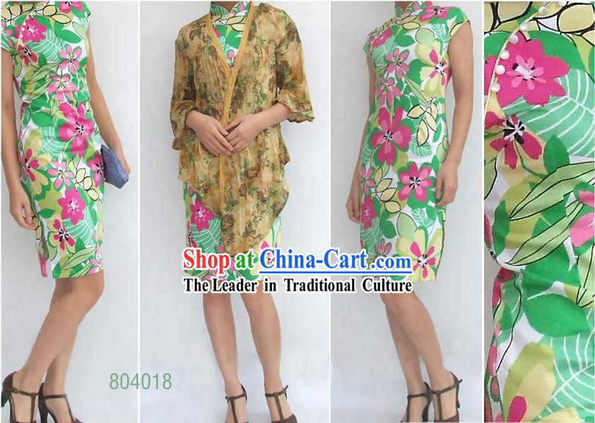 Chinese Traditional Mandarin Flower Green Cotton Cheongsam (Qipao)
