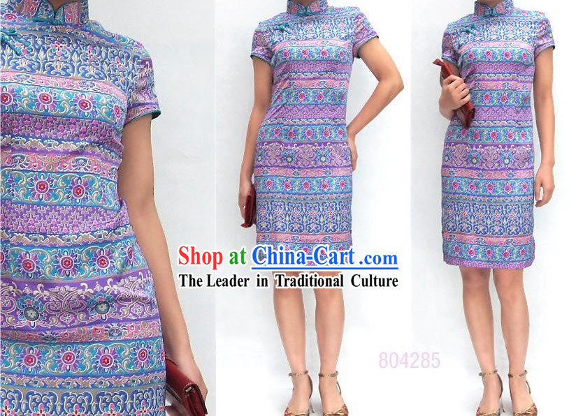 Elegant Chinese Traditional Mandarin Cotton Cheongsam - Indian Wind