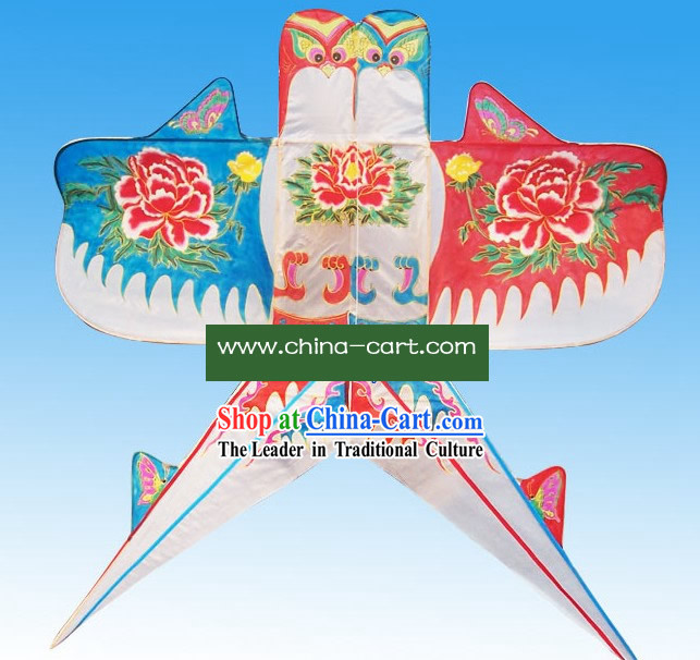 Chinese Classical Hand Painted and Made Kite - Fly Win to Win Double Swallows