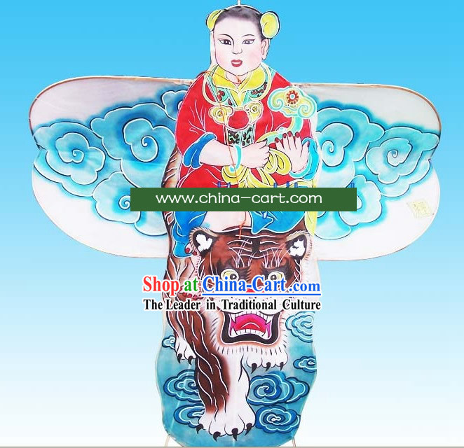 Chinese Traditional Weifang Hand Painted and Made Kite - Ancient Boy Riding Tiger