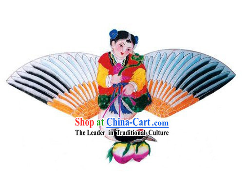 Chinese Classical Hand Painted and Made Kite - Boy on Crane